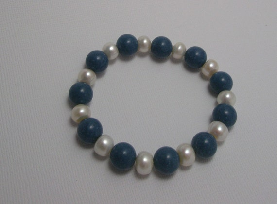 Stretch Bracelet Genuine Blue Coral and Freshwater Pearl Bead Bracelet
