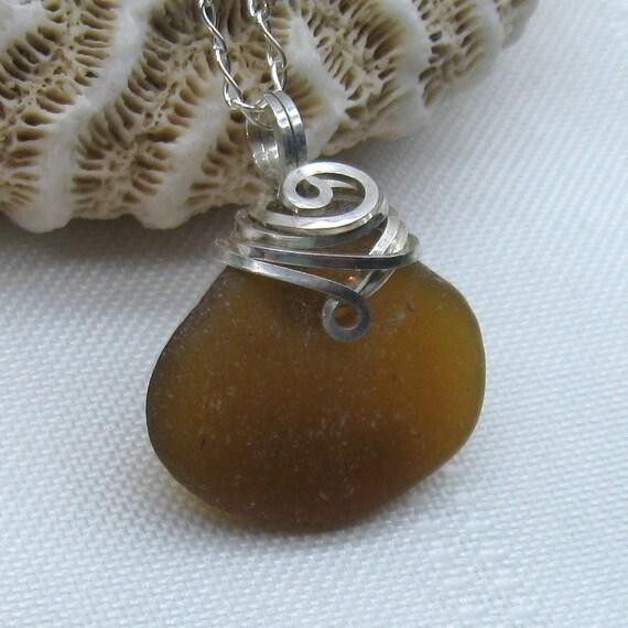 Sea Glass Necklace - Beach Glass Pendant - Amber Beach Glass Necklace - Sea Glass Jewelry - Beach Glass Jewellery
