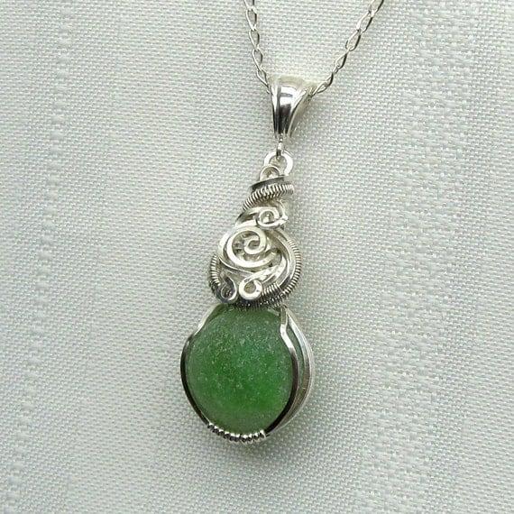 Sea Glass Necklace - Seaglass Pendant - Beach Glass Jewelry - Green Cat's Eye Sea Glass Marble