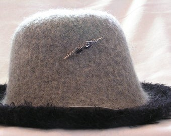 Grey and Black Hat  Sterling Silver Pin Accent Medium