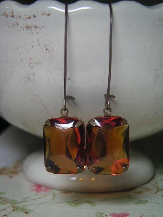 Vintage Madeira Topaz Jewel Earrings