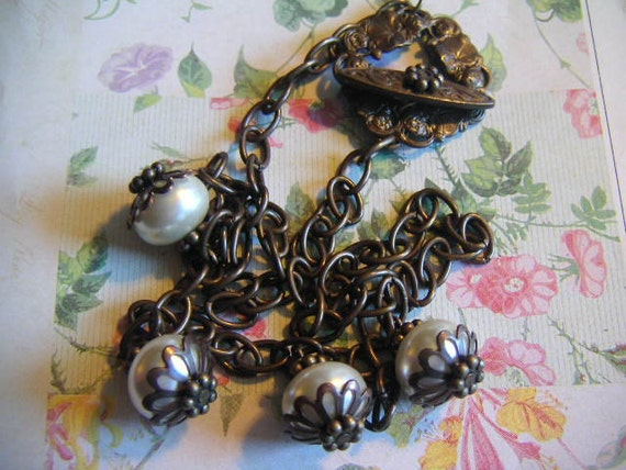 Glass Pearl Charm Necklace with Fancy Flower Toggle Clasp