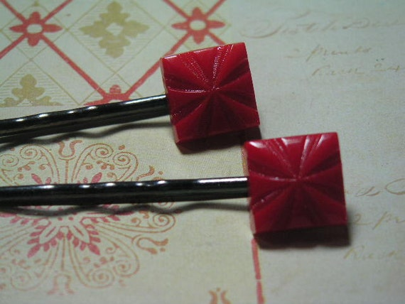 Red Glass Squares on Dark Gray Gunmetal Bobby Pins  Vintage Cabochons with Ornate Detail