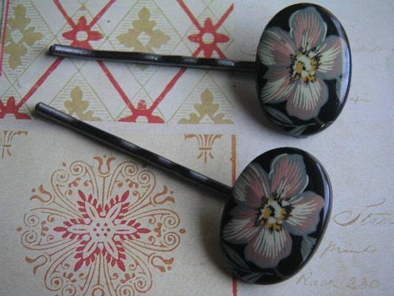 Vintage Black Floral Cabochons on Gunmetal Bobby Pins Unique Hair Accessories