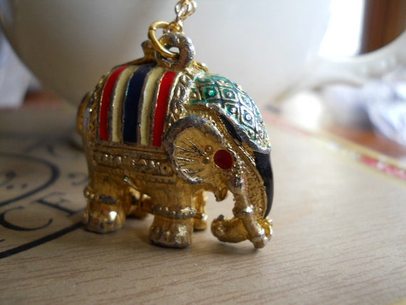 Rare Tiny Elephant Locket with Enamel Color on Long Chain Vintage 1970s Uncommon and Hard to Find