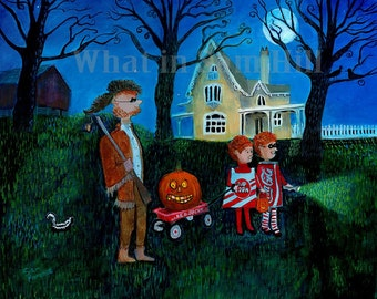Original Halloween Painting - Only the Pumpkin Knows