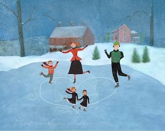 Print - Snowy Skating Party