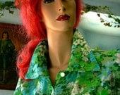 70s vintage silk Blouse hawaii kawaii  green floral long sleeves hand crafted