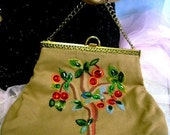 50s vintage Needlepoint Purse plastic gems Cherry's hand bag embroidery Collectible