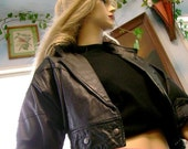 80s Vintage Retro cropped Leather Jacket Jay Jacobs black  women Youth Collage Preppy Costume