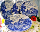 vintage Blue white Plate japan small collectible serving GIFT set Cottage Bridge design