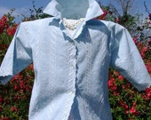Vintage 80s sweet Blouse robin egg blue eyelet lace casual summer spring size Medium