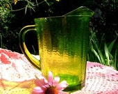vintage 80s heavy duty Pitcher beverage Green glass entertaining Picnic collectible