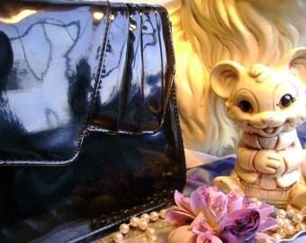 60s vintage Patent leather Purse handbag Mod Madmen Dance Evening Mother