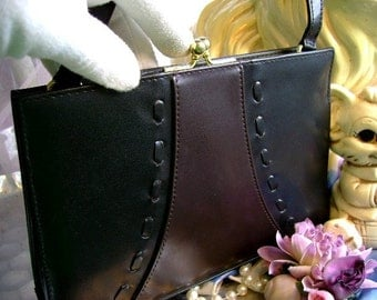 vintage 90s black and chocolate purse kiss closer hand bag Retro Youth evening