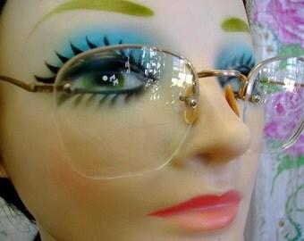 vintage 40s 50s 10 12 K gold eye glasses floating glass lens antique costume