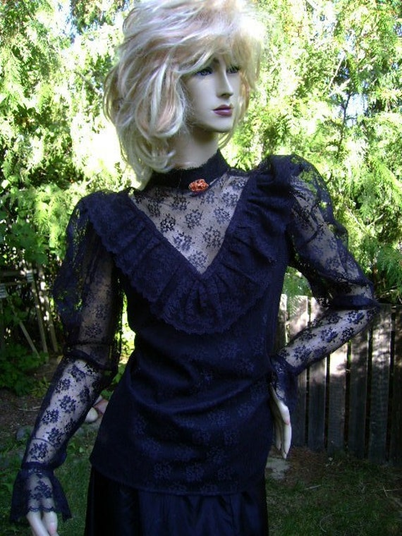 vintage 80s black widow blouse lace witch steampunk victorian ruffles costume