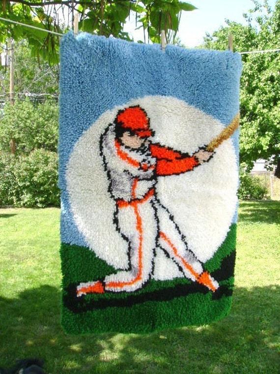 Vintage Baseball Hooked Rug Boys
