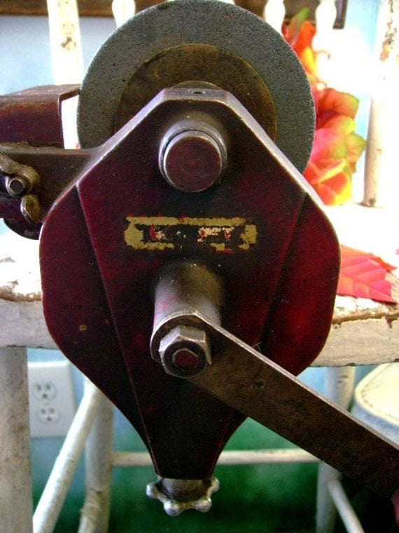 Antique Bench Hand Crank Grinding Wheel Vintage By