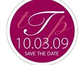 Circle custom wedding monogram  'Save the Date' Sticker labels   24 pack
