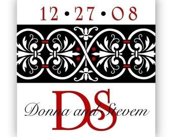 Red custom Wedding Stickers, monogram Wedding labels, black Wedding invitation Seals, Elegant wedding logo, personalized sticker - 24 Glossy