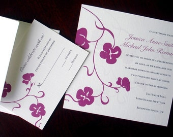 Purple Floral Casual Wedding Invitations, Whimsical classic invitation, elegant wedding invitation, square invitation, Simple wedding invite