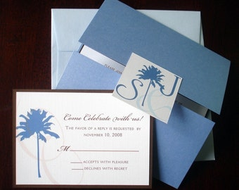 tropical beach wedding invitation card blue nautical wedding invitations palm tree invite unique