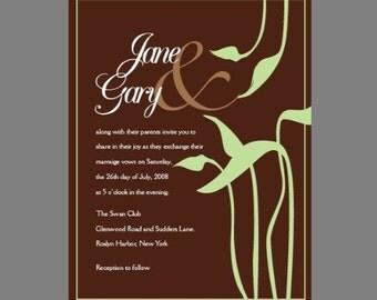 Custom Green Wedding invitation card,  Spring Garden wedding, Bridal shower invitation, communion, christening invitations