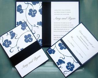 Royal Blue, Boho, Floral ribbon Wedding Invitation, Elegant Wedding Invitations, Unique wedding invite, Bridal shower, bat mitzvah - Deposit