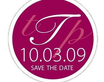 Circle custom Wedding Monogram, Personalized Save the Date Sticker labels, wedding Invitation labels, wedding invite stickers seals 24 pack