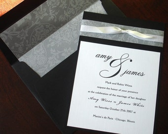 Black, White Vellum Bow Wedding Invitation, Traditional wedding invitations, Lined Envelope, Elegant, Romantic, formal translucent invites