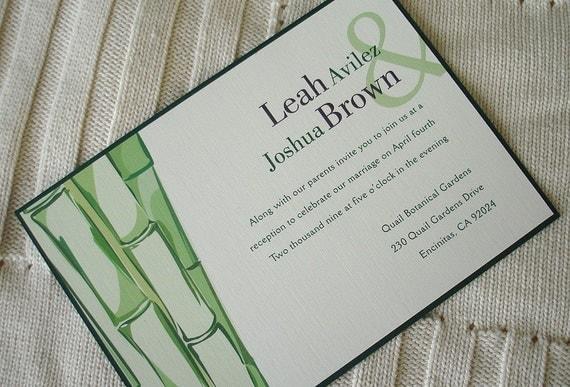 Green Bamboo Wedding Invitation Nature Inspired