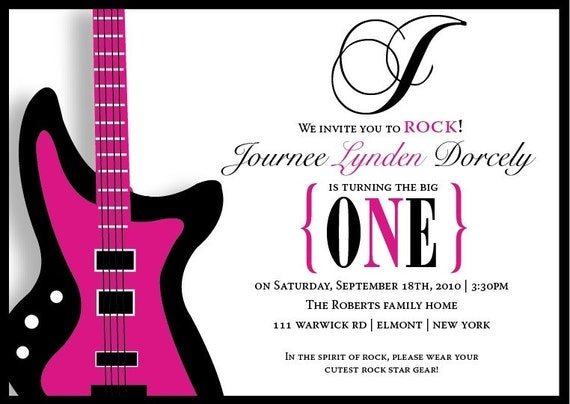 Hot Pink Electric Guitar 1st First Birthday Party Invitation
