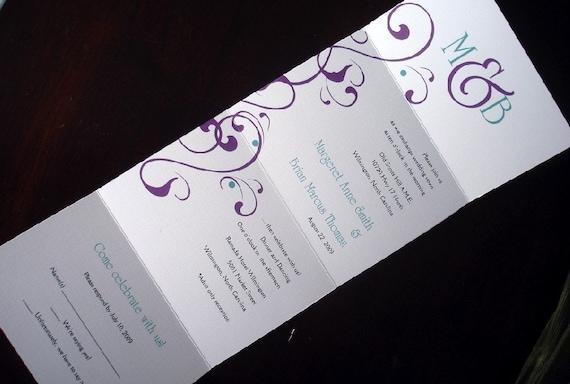 Purple Wedding Invitation Teal Invitation Casual Wedding