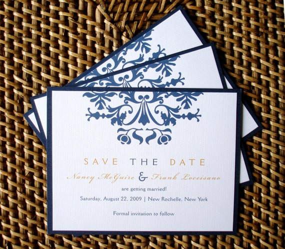 Victorian Brocade Wedding Save the Date card, Navy blue and gold card, unique save the date card, damask, elegant, Romantic save the date
