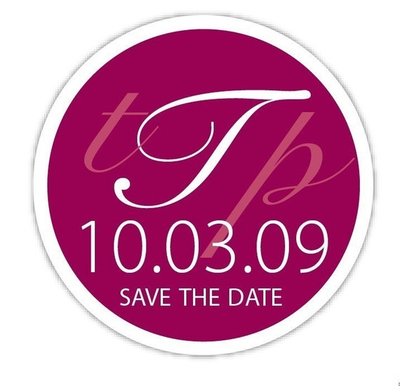 Circle Custom Wedding Monogram, Personalized Save The Date