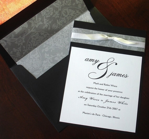 Black, White Vellum Bow Wedding Invitation, Lined Envelope, unique, Elegant, Romantic, formal, Traditional Wedding Invitations - Sample