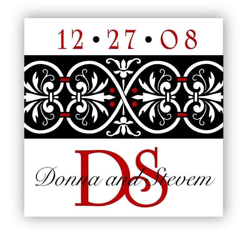 Red Custom Wedding Stickers Monogram Wedding Labels Black