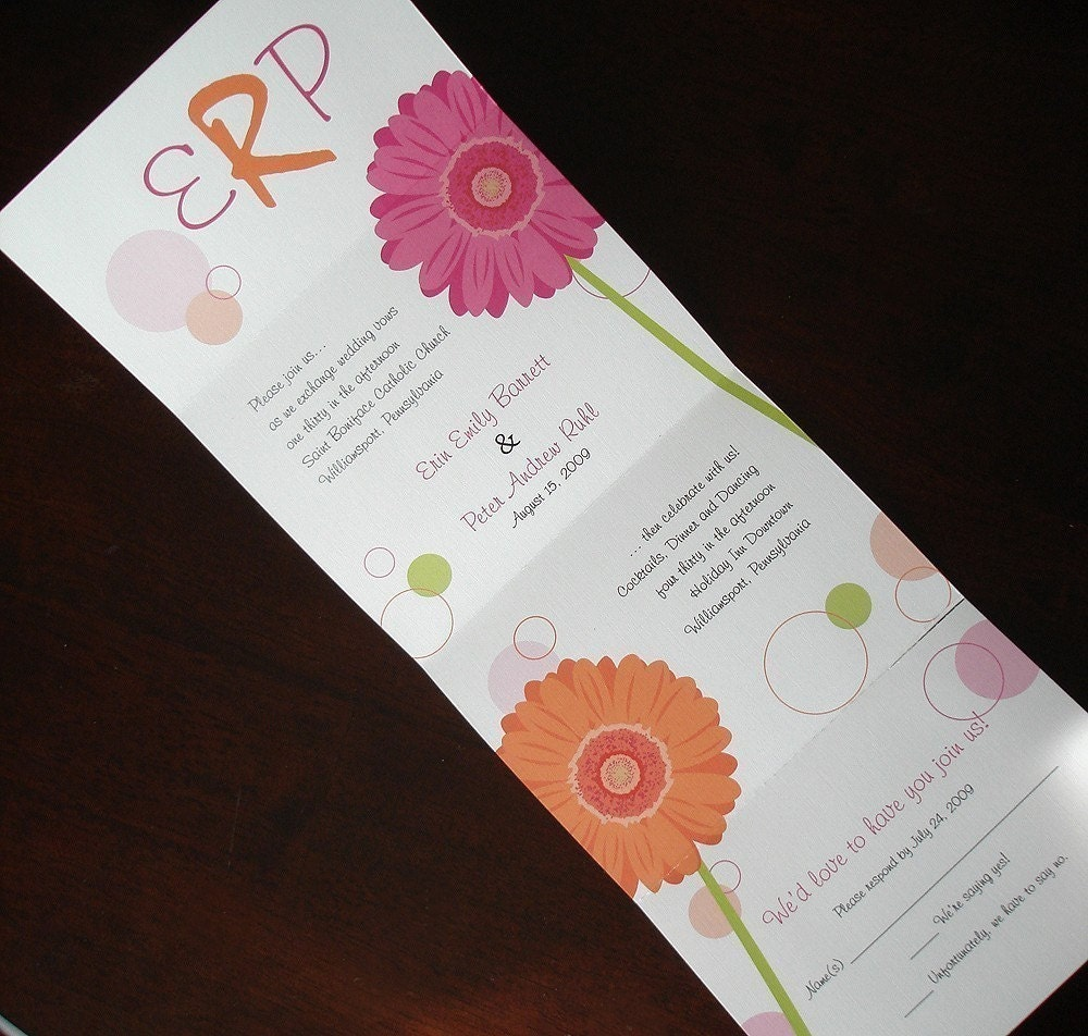 Seal And Send Gerbera Daisy Wedding Invitation Gerber Daisy