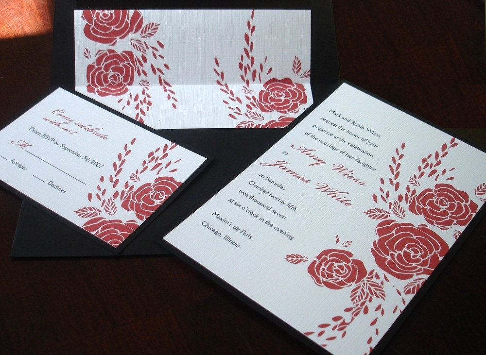 Red Rose Wedding Invitation Romantic Valentines Wedding