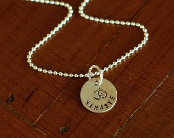 Sterling Silver Hand Stamped NAMASTE Necklace