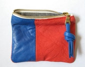 recycled lambskin five inch wallet pouch - coral/cobalt