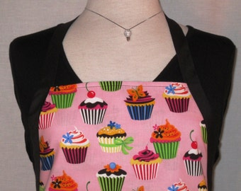 Sweet Tooth Pink Cupcakes Reversible Full Apron