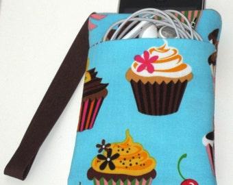 Turquoise Cupcake Sweet Tooth Gadget Cozy Wristlet