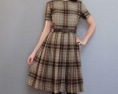 vintage 1960s PLAID dress and jacket set XS S