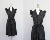 RESERVED for jkokesh vintage black POLKA DOT ruffle dress w/ belt S