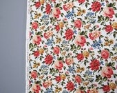 vintage FLORAL cotton twill fabric