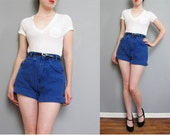 1980s BRIGHT BLUE denim high waisted shorts XS S