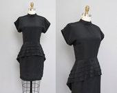 vintage 1980s BLACK modern dress w/ peplum XS S