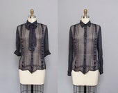 vintage SILK midnight blue SHEER striped silk blouse w/ bow XS S